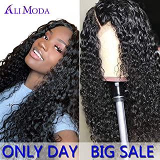 Ali Moda Water Wave Lace Frontal Wigs 150% Density Brazilian Virgin Human Hair Lace Frontal Wig With Baby Hair for Black Women (16inch)