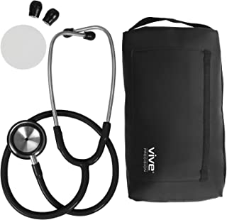 Vive Precision Dualhead Stethoscope - Dual Head Diaphragm Bell for Nurses, ER, Cardiology, Veterinary, Fetal Pediatrics Blood Pressure Kit - Double Barrel Chestpiece Device for Doctors, Students