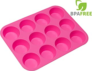 RagaMuffins Premium Silicone Cupcake Baking Pan | Mold | Muffins |12 Cup | 100% Non-Stick | FDA Approved Food Grade Silicone in PINK