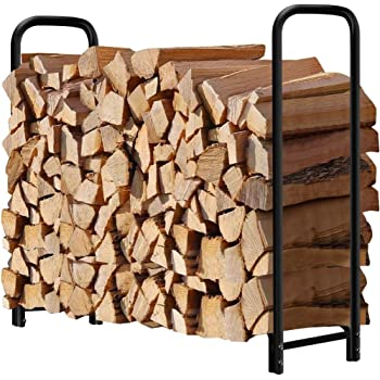 Amagabeli 4ft Firewood Rack Outdoor Log Holder for Fireplace Heavy Duty Wood Stacker for Patio Deck Metal Kindling Logs Storage Stand Steel Tubular Wood Pile Racks Outside Tools Accessories Black