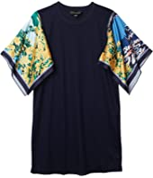Code Interlock Dress w/ Printed Sleeves