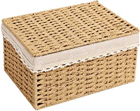 JUAN Laundry Hamper Covered Rattan Laundry Basket Cloakroom Bookcase Finishing Box Drawer Storage Box (Color : Lid-light-y...