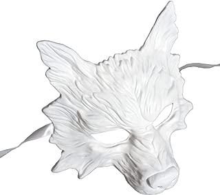 BeMasqued White Wolf Mask Unisex Adult Men Half-Face Animal Masquerade Prom Mardi Gras Halloween Costume Party