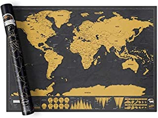SKEIDO Extra Large Wall Size International Scratch World Travel Map (82.5x59.4cm) - BEST GIFT FOR TRAVELERS - Huge Adventu...