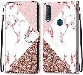 JMTALL Kompatibel med Alcatel 1S 2020 telefon flip plånbok fodral marmor design PU-läder telefonskydd med korthållare magn...
