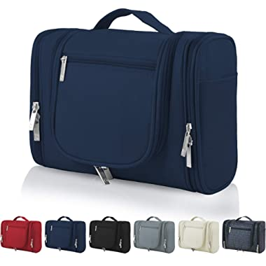 OMYSTYLE Hanging Toiletry Bag for Women & Men, Portable Travel Kit Bag, Waterproof Bathroom Toiletry Organizer with Hook for Makeup, Cosmetic, Shaving (Travel Size, Navy Blue)