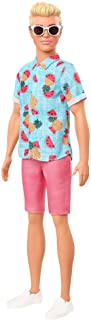 Barbie Ken Fashionistas Doll 152 with Sculpted Blonde Hair Wearing Blue Tropical-Print Shirt, Coral Shorts, White Shoes Wh...