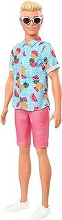 Barbie Fashionistas poupée mannequin Ken #152 aux cheveux blonds moulés avec chemise bleue tropicale et short corail, joue...