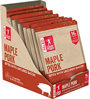 Caveman Foods Paleo – Gluten Free, Maple Pork with Uncured Bacon Bites, 2 Ounce, 12 count