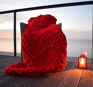 ERLYEEN Chunky Knit Blanket Merino Wool Hand Made Throw Boho Bedroom Home Decor Giant Yarn,Red,32