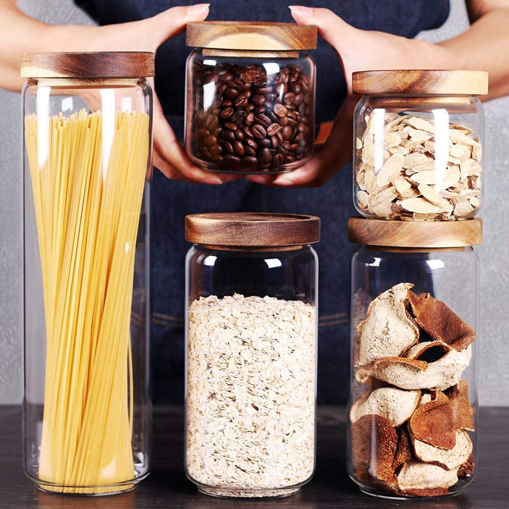 Don't miss the campaign SAIOOL Set of 5Kitchen Canisters S Natural 2021 model Thick Stackable