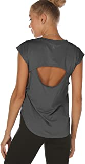 icyzone Open Back Workout Tank Top Shirts - Activewear Exercise Athletic Yoga T-Shirt for Women