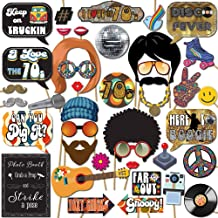 1970s Disco 70s Throwback Party Theme Photo Booth Props Decorations, 41 Pieces with Wooden Sticks and Strike a Pose Sign by Outside The Booth
