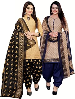 Rajnandini Women's Beige And Beige Cotton Printed Unstitched Salwar Suit Material (Combo Of 2) (Free Size)