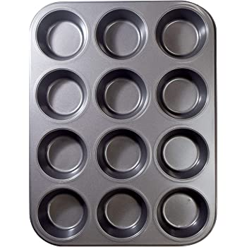 12 Cups Muffin and Cupcake Pan, Nonstick Brownie Cake Pan, Carbon Steel bakeware for Oven Baking Gray