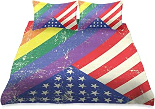 HARXISE Ropa de Cama - Juego de Funda nórdica,Bandera de Orgullo gastada y Vieja Gloria Patriotismo Libertad Diseño temático LGBT,Juego de Funda de Almohada con Funda de Colcha de Fibra extrafina