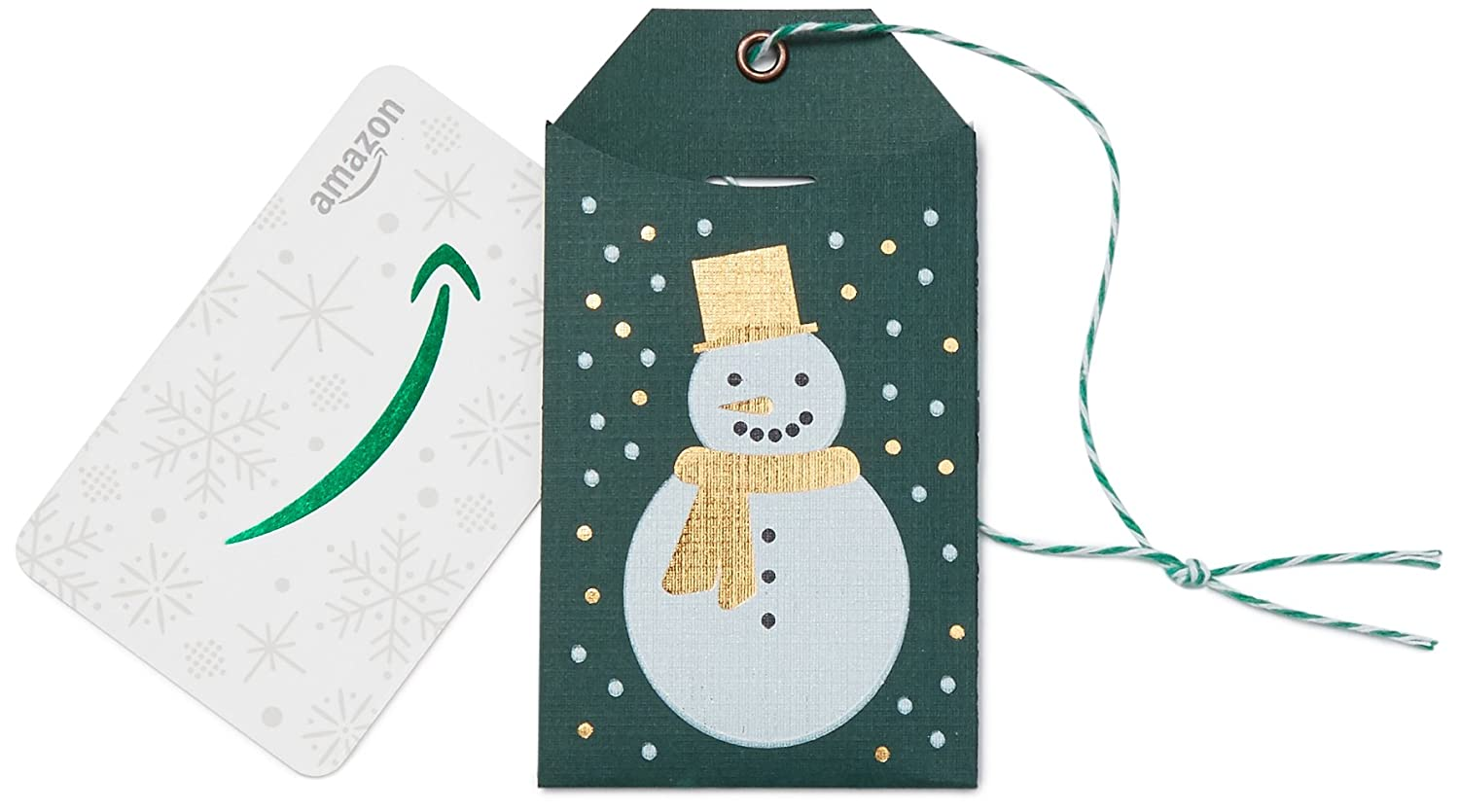 Amazon.com Gift Card in Super Special SALE held a Green mart Tag Snowman