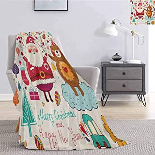 Christmas Bedding Microfiber Blanket Santa and Teddy Bear Vintage Christmas Season Ornaments Party Kids Nursery Theme Super Soft and Comfortable Luxury Bed Blanket W91 x L60 Inch Multicolor