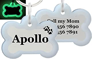io tags Double Sided Laser Etched Stainless Steel Pet ID Tag for Dog Engraved and Personalized Bone Shape