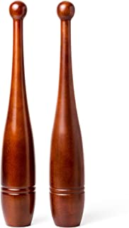 Rotational Clubs: 2lb Indian Clubs (Pair)- Solid Oak Wood