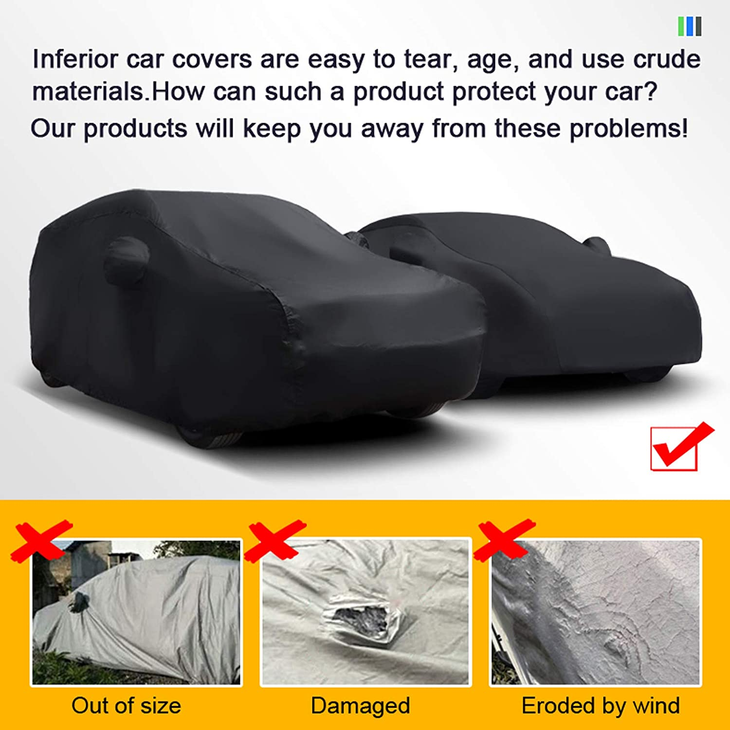 Waterproof Full Car Cover Rain Snow Resistant All Weather Protection Car Cover Scratch Resistant Outdoor With Reflective Strips A LCYNCX Car Cover Compatible With Aston Martin Vanquish
