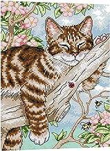non-brand Stickpackung Kreuzstich vorgedruckt Stickset Stickbild Stickerei Stickvorlage Tiere Katzen Motiv mit Garn 25 x 33 cm