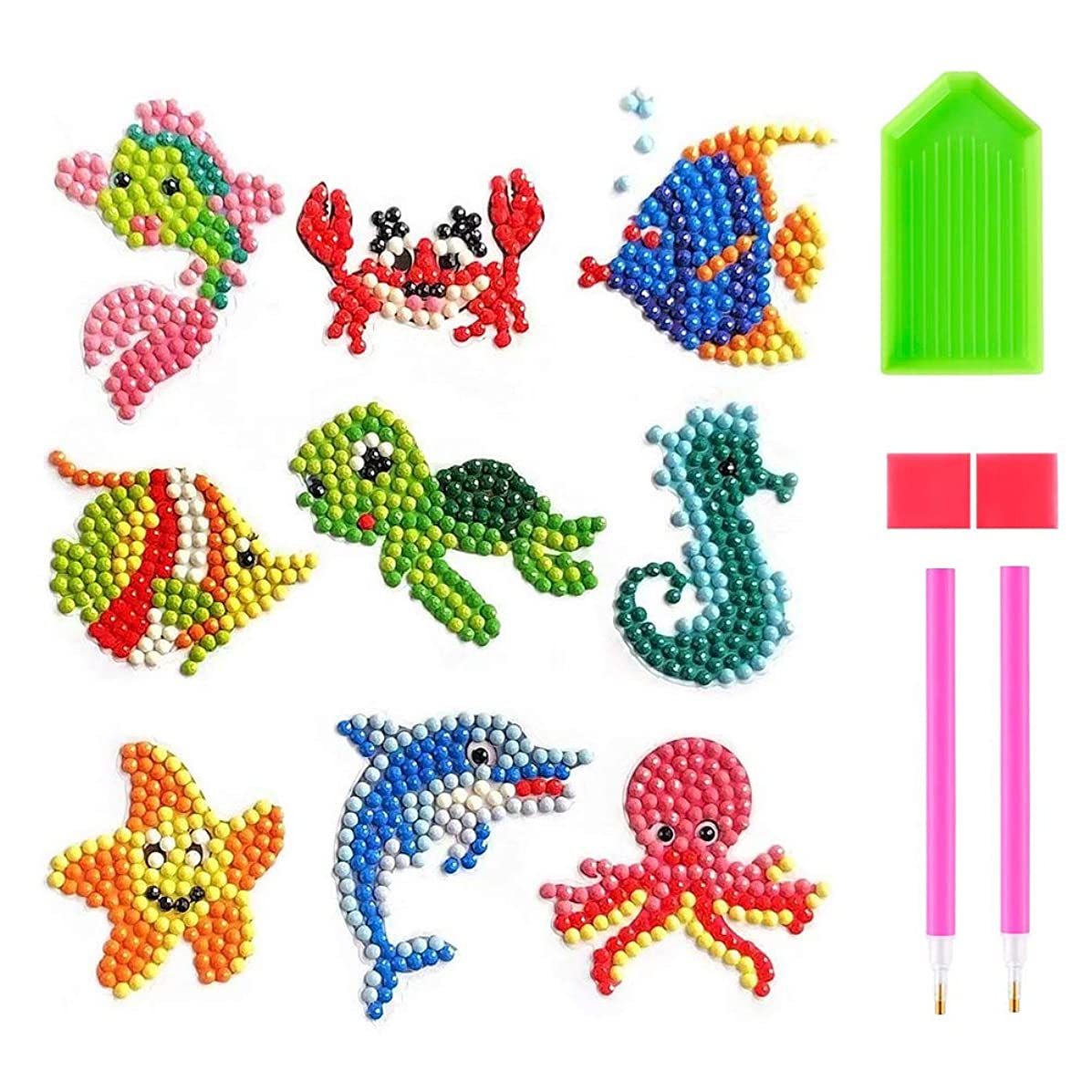 5d Diamond Painting Kit for Kids, 9 Pack Sea Animal Series Mosaic Stickers Paint by Numbers Diamonds Full Drill Arts Crafts Kits for Children Gift