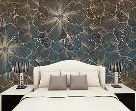 Behang 3D Behang Muurschilderingen Reliëf Gouden Lijn Tekening Bloemen Muurschildering 3D Slaapkamer Behang voor Woonkamer...