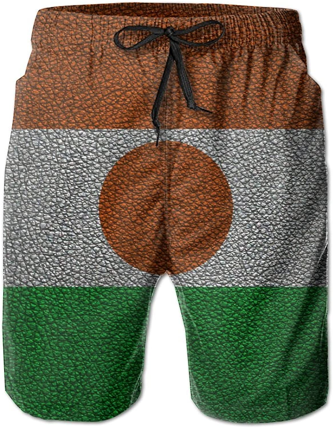 HFSST Flag of Niger Africa Leather PatternHandsome Fashion Summer Cool Shorts Swimming Trunks Beachwear Beach Shorts