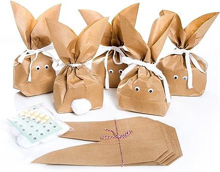 10 Stück braune natürlich lustige Osterhasen Hasen Papiertüten + weiß beige Baumwollband – Alternative zum Osternest f. Kinder + Erwachsene give-away Mitgebsel Verpackung Geschenke zu Ostern