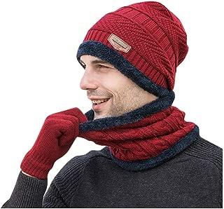 3Pcs Men's Knit Scarf Beanie Hat Gloves Set for Winter Fleece Lined Warm Skull Ski Cap Furry Plush Muffler Soft Gloves