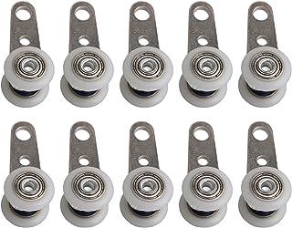 BQLZR - Lot de 10 roulettes pour baies vitrées ou portes coulissantes - en métal et en plastique - 4,5x 1,9cm