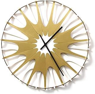 Feu dartifice III 59cm horloge murale en bois moderne assembl/ée comme une marqueterie 41cm