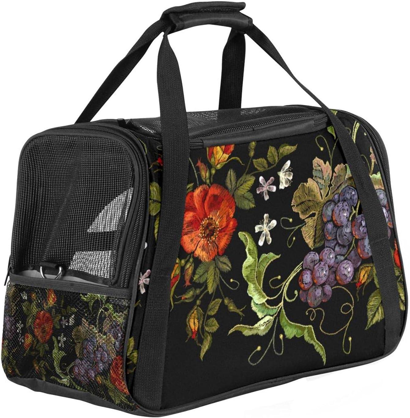 Transportador de perros aprobado por aerolínea, flor de uvas Balck suave para mascotas para perros y gatos pequeños, bolso portátil de viaje para mascotas, parte superior abierta, 47 x 30 x 30 cm