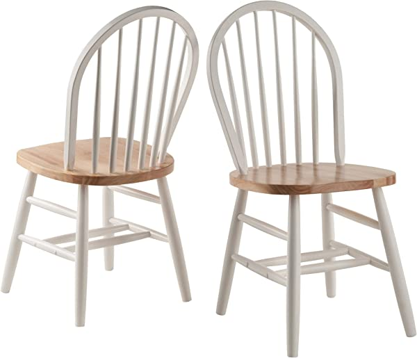 Winsome Wood 53638 Windsor 2 PC Set RTA White Natural Chair