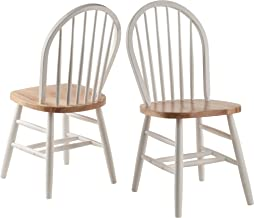 Winsome Wood 53638 Windsor 2-PC Set RTA White & Natural Chair