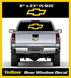 6 to 8 Year out door Life 8 inch by 23 inch Yellow Chevy Bow-tie Emblem Decal / Chevy Bowtie Decal - Chevy Bowtie Sticker - Chevrolet / Sticker / Graphic / Truck Rear Window Graphic.