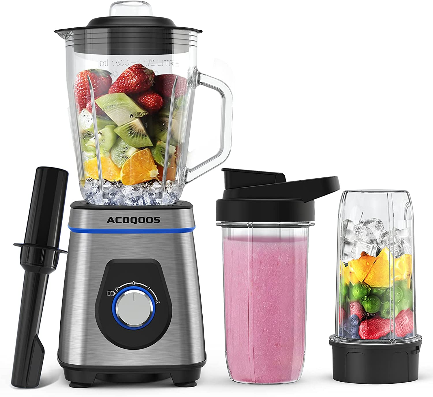 Smoothie Blender for Kitchen, Blender for Shakes and Smoothies, 750W Licuadora with 50 Oz Glass Jar, 2 Travel Bottles, BPA Free by ACOQOOS