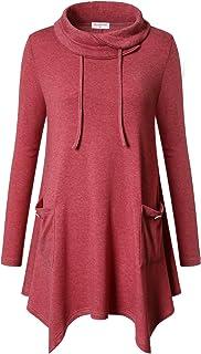 Bulotus Women's Long Sleeve Cowl Neck Asymmetrical Hem Tunic Tops with Pockets