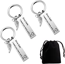 3 PCS Drive Safe Keychain I Need You Here with Me, Keyring Gift for Trucker Husband Boyfriend Father Girlfriend Valentines Day(Wing and Love)