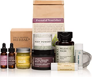 Pregnancy Gift, Naturally Beautiful Maternity Gift Set, Apothecary Skin Care for Mom To Be, Holistic Expectant Mother's Gift With Prenatal Organic Herbal Tea, Ora's Amazing Herbal