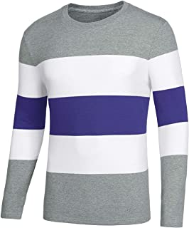 Lars Amadeus Men's Pullover Color Block Round Neck Casual Long Sleeve Striped Tshirt