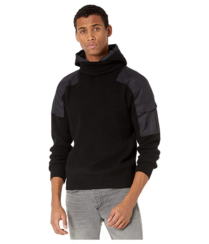 rag and bone  Andrew Military Hooded Pullover (Black) Mens Clothing