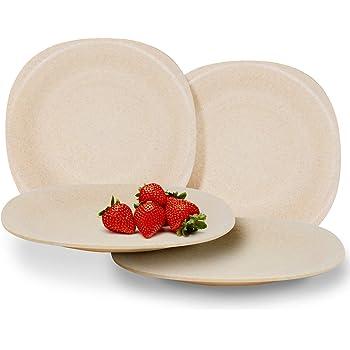 Juego de 4 platos de paja de trigo biodegradable | Vajilla ligera ...