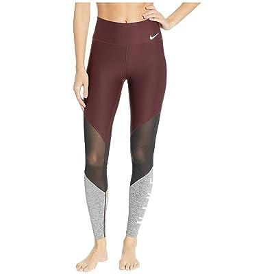 Nike Power Mesh Wrap Graphic Gym Tights (Burgundy Crush/Black/White) Women