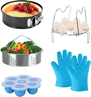 Accessories for Instant Pot fit 8qt 6qt Pressure Cooker with Upgrade Egg Rack, Egg Bites Mold with Lid, Vegetable Steamer Basket, Non-Stick Springform Pan and Silicone Oven BBQ Glove Mitts