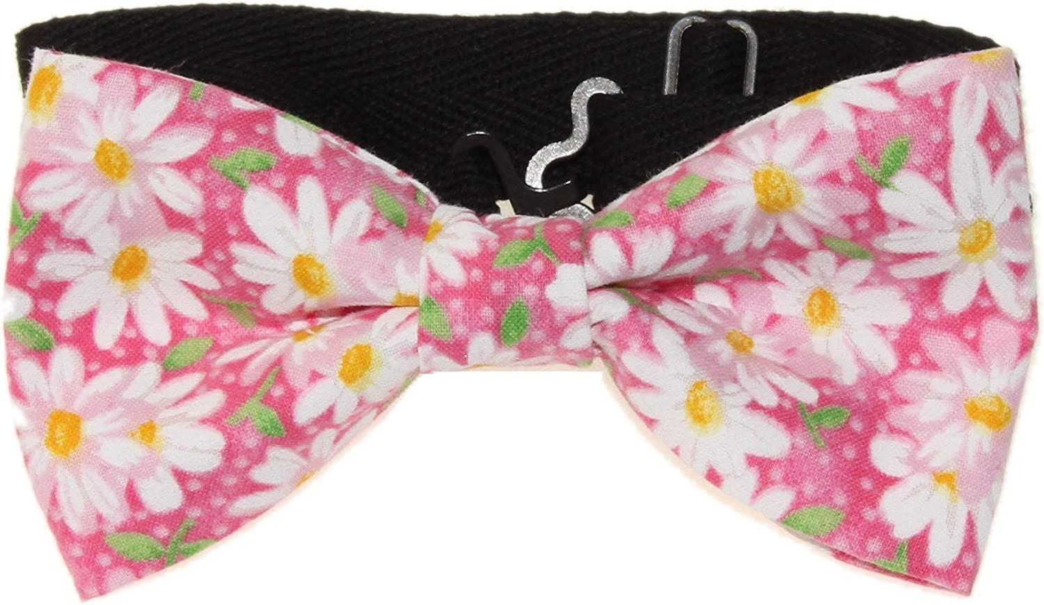 Men's Pink White Daisies Floral Pre-Tied Adjustable Cotton Bow Tie