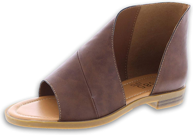 385 Fifth women Women's Faux Leather Asymmetrical Sandal Open Toe Flats Half D'Orsay Low Heel shoes