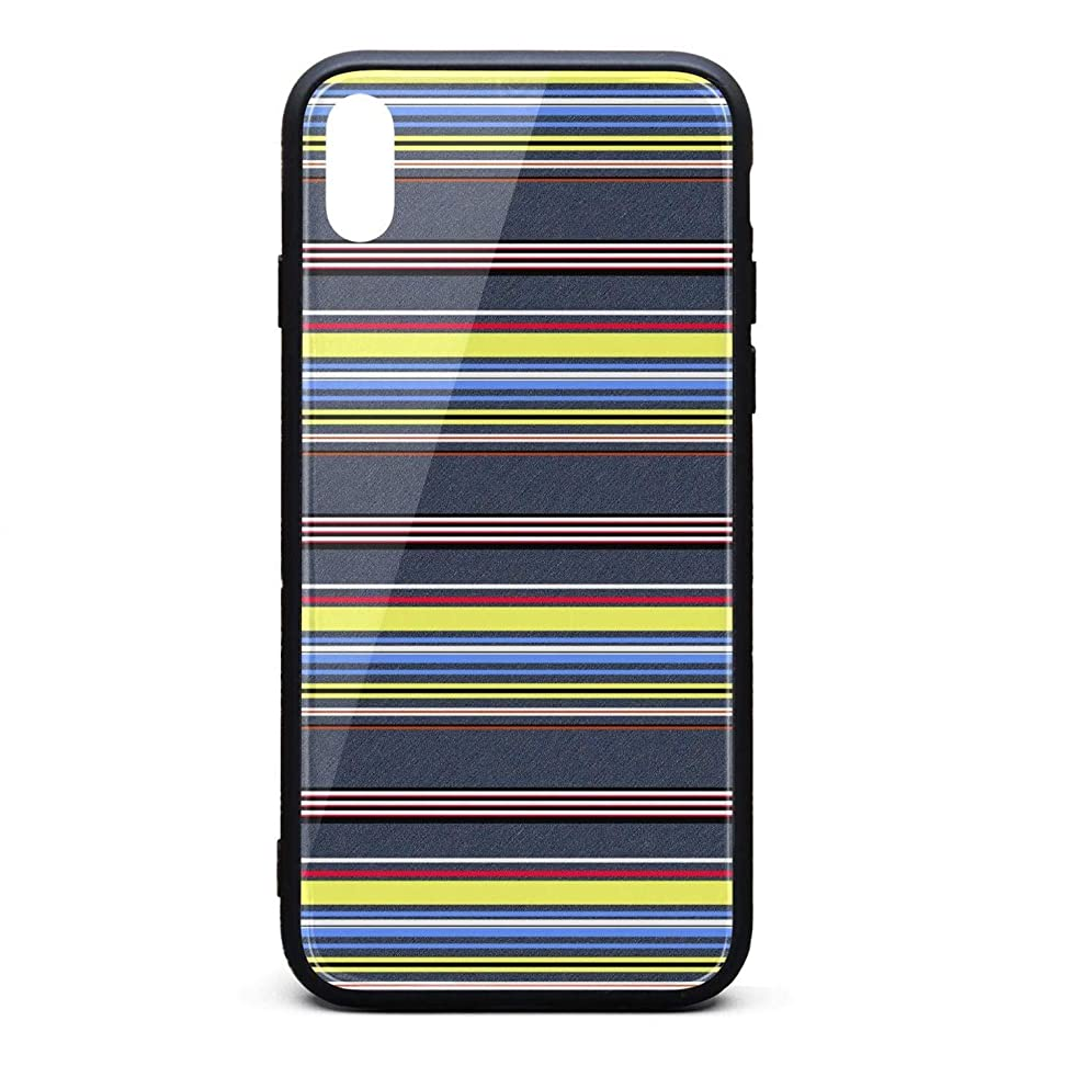 Phonerebey iPhone X/Xs Case,Stripe Anti-Scratch Shockproof Slim Cover Case Compatible with Apple iPhone X/Xs Case,TPU and Tempered Glass
