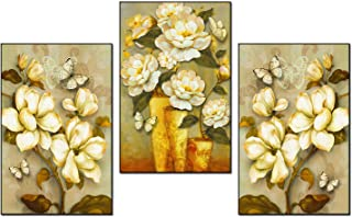 ANIUHL Magnolia Floral Wall Art Canvas Print Poster Retro Rustic Style Oil Paintings Flowers Artwork Decor for Living Room Bedroom Nursery Office(Set of 3 Unframed, 8x10 inches)